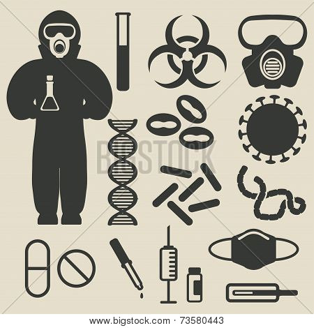 epidemic protection and medical icons set - vector illustration. eps 8 poster