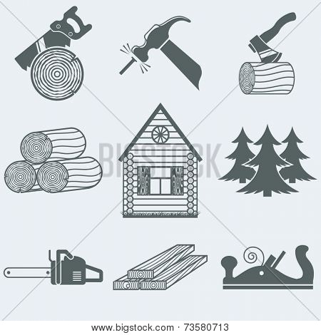 Vector illustration of icons on wood