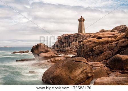 Atlantic ocean coast in Brittany near Ploumanac'h (France). poster