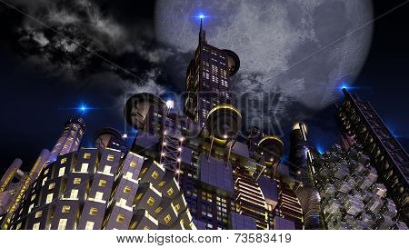Futuristic city at night with giant moon