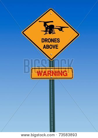 conceptual sign with drone symbol and danger warning over blue sky