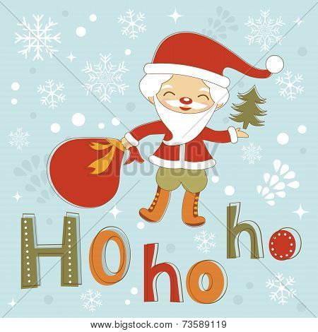 Hohoho Santa cute Christmas card