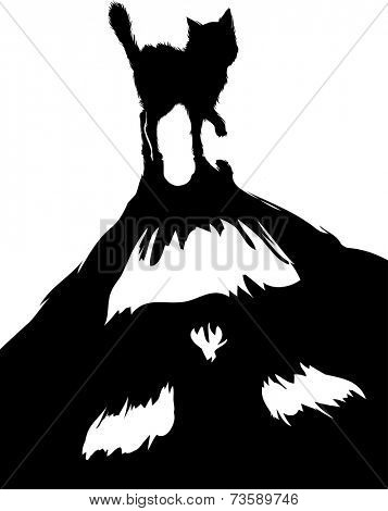 Halloween-Themed Illustration of a Black Cat With a Monstrous Shadow