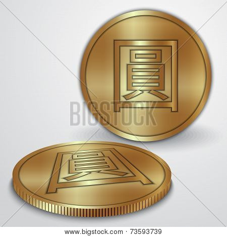 Vector illustration of golden coins with Chinese Yan CNY currency sign poster