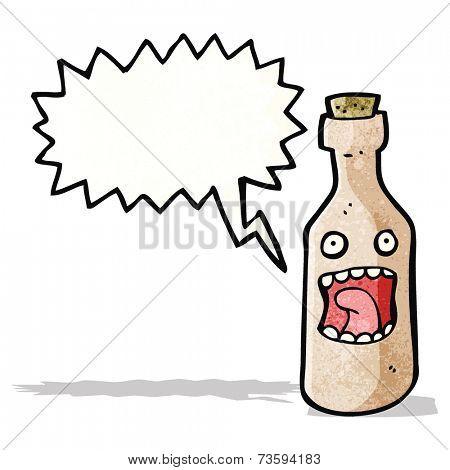 shrieking wine bottle cartoon character