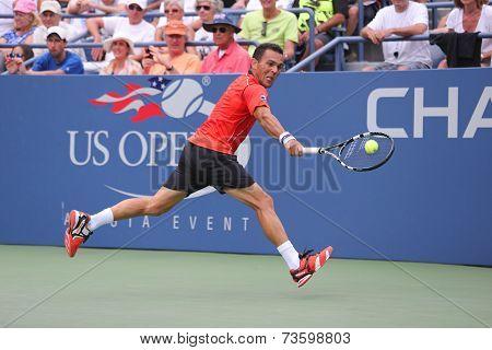 Professional tennis player Victor Estrella Burgos during third round match at US Open 2014