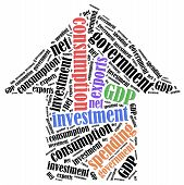 GDP or Gross domestic product components. Word cloud illustration. poster