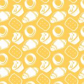 Seamless pattern outline delicious pastries, croissants, biscuits, two-color food background poster