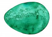 Cosmic egg watercolor and ink painting in emerald green. poster