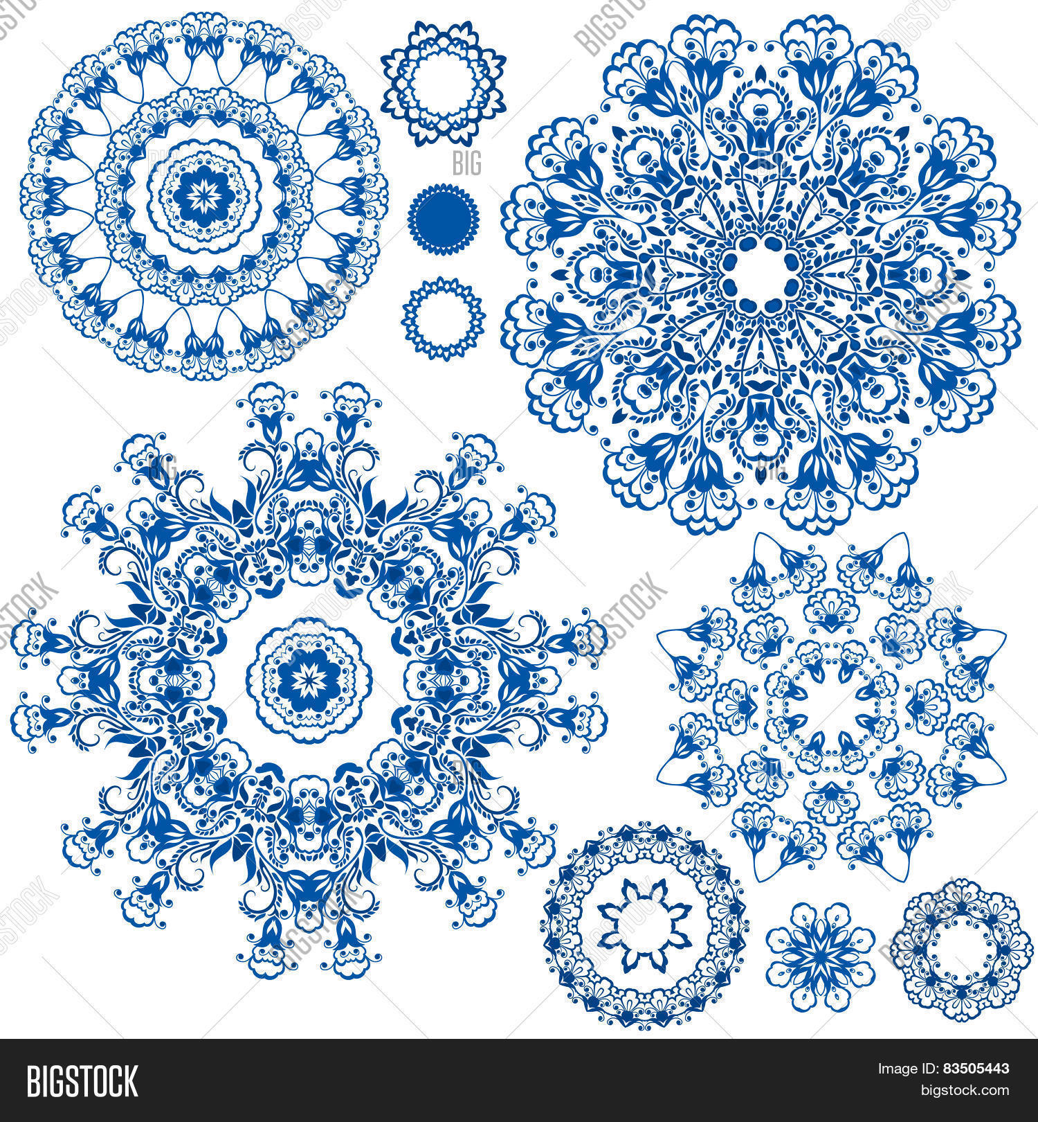 Set Blue Floral Vector Photo Free Trial Bigstock