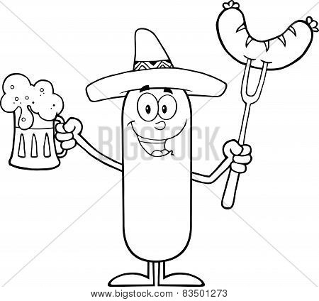 Black And White Mexican Sausage Cartoon Character Holding A Beer And Weenie On A Fork