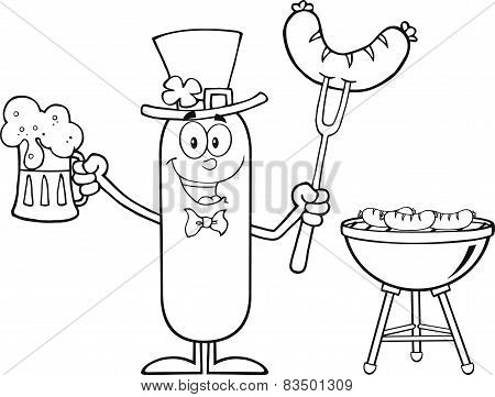 Black And White Leprechaun Sausage Cartoon Character Holding A Beer And Weenie Next To BBQ
