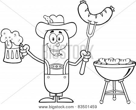Black And White German Oktoberfest Sausage Cartoon Character Holding A Beer And Weenie Next To BBQ