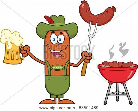 German Oktoberfest Sausage Cartoon Character Holding A Beer And Weenie Next To BBQ
