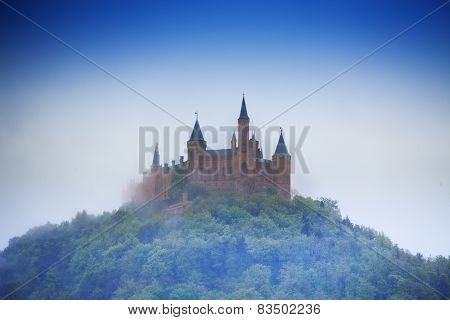 Amazing view of Hohenzollern castle in haze