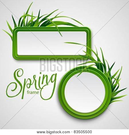 Spring frame with grass. Vector illustration