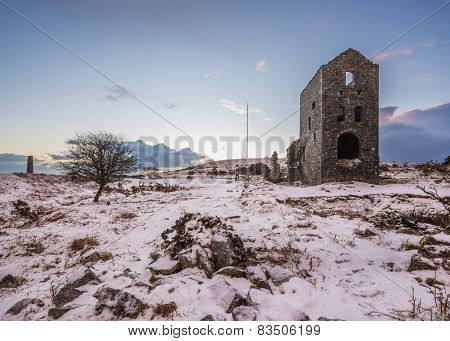 Tin mine building Cornwall in winter