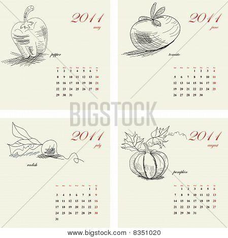Template for calendar 2011. Vegetable