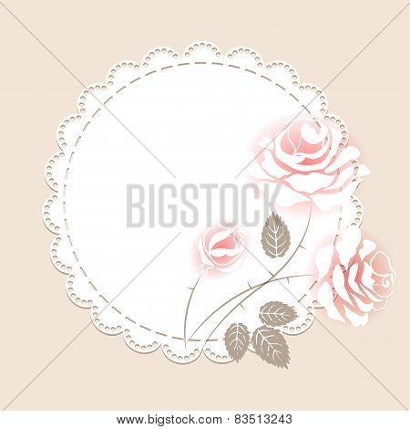 Delicate pink card with roses