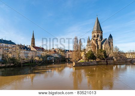 Temple Neuf De Metz On The Moselle River - Lorraine, France