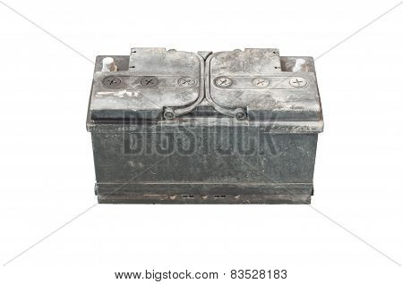 used battery on isolated background
