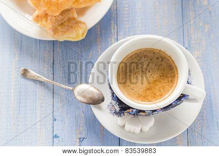 Coffee Cup Black Wooden Board Brown White Milk Croissants