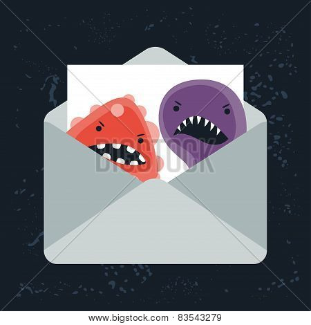 Abstract illustration email spam angry virus infection. poster