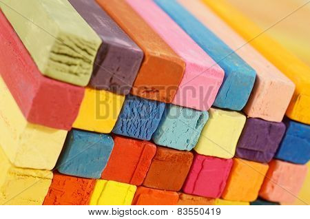 Multicolored Background Made Of Art Tools - Red, Blue, Brown,yellow, Pink,orange Pastel Chalks