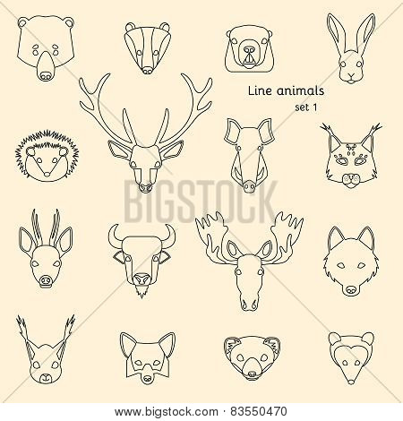 Forest animals line icons
