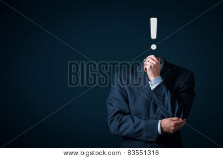 Businessman has idea. An idea is represented by exclamation mark. poster