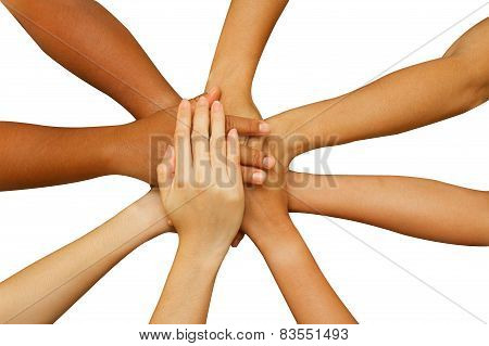 Team Showing Unity, People Putting Their Hands Together