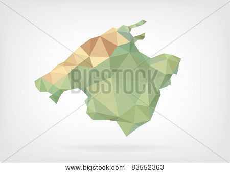 Low Poly map of Mallorca Island