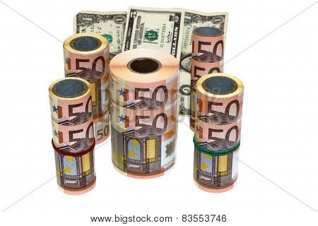 advantages banknotes on white background