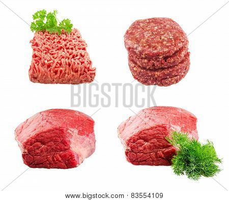 Set of Fresh beef slab with dill , ground beef , burgers for hamburgers isolated on white background