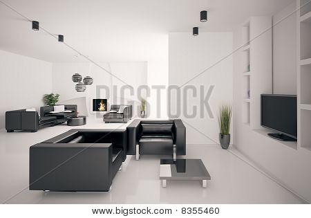 Living Room With Fireplace Interior 3D