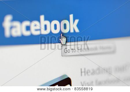 Galati, Romania, February 24, 2015: Close-up Image Of  Facebook Home Pages