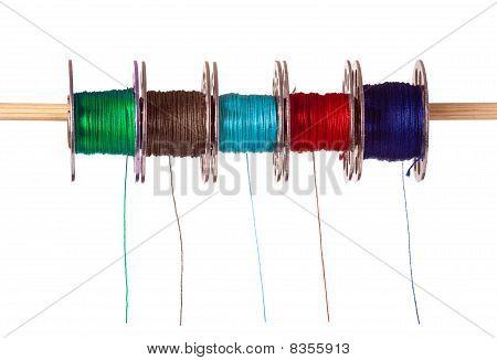 Five Colored Cotton Bobbins
