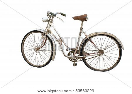 Old Bicycle Isolated On White