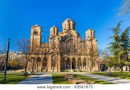 View of St. Mark Church from Tasmajdan Park in Belgrade - Serbia poster
