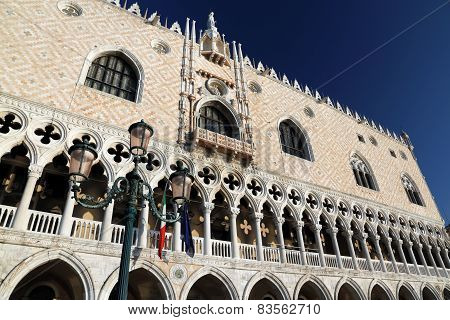 Doge's Palace And Streetlamp In Venice Italy