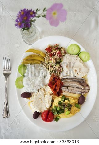 variety of greek appetizers ouzo meze on table poster