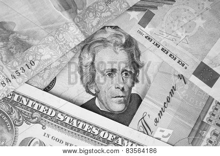 Engraved portrait of Andrew Jackson on a USA twenty dollar bill