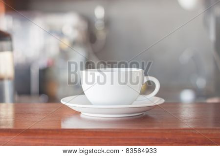 White Coffee Cup In Coffee Shop