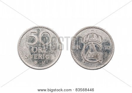 A fifty Ore coin from Sweden circa 1973 poster