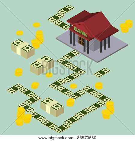 bank pattern maps isometric background
