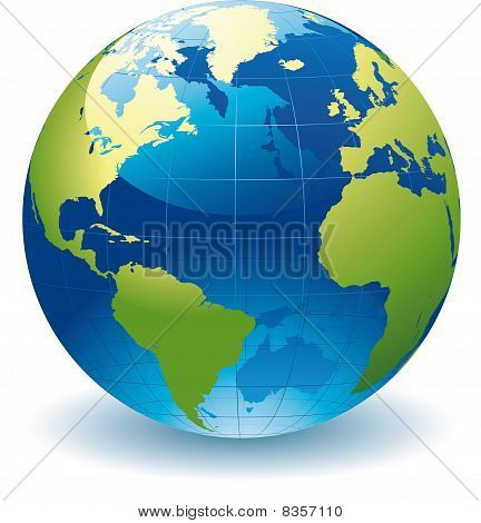 editable vector illustration of a globe of the world poster