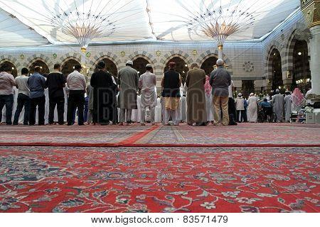 The Congregation Prayed Muslims Nabawi Mosque, Medina, Saudi Arabia
