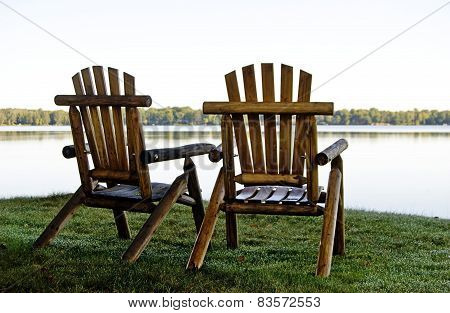 Chairs on the shoreline