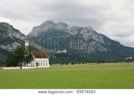 Mountain landscape with St Coloman Church