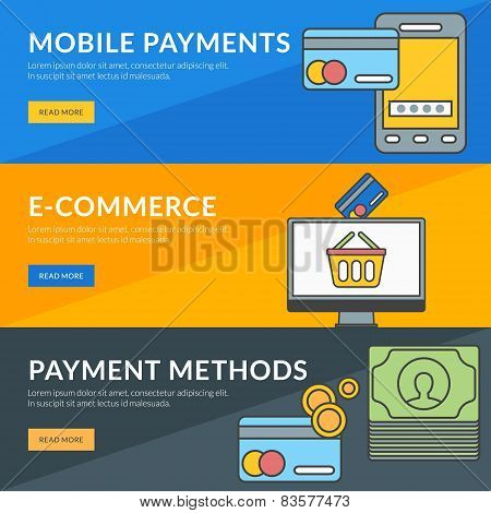 Flat design concept for mobile payments e-commerce payment methods poster